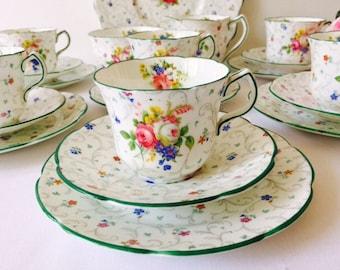 Collingwood Chintz Tea Set, Floral, Staffordshire, 1940s.