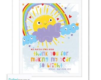 Teacher Appreciation Print - End of Year Teachers Gift - Personalised Teachers Gift - Nursery Teachers Gift - Preschool Teachers Gift