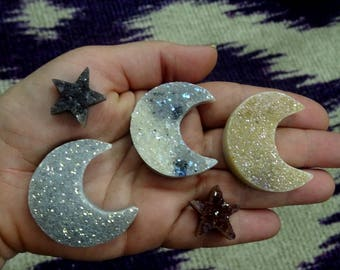Mystic Light Shimmer Crescent Druzy - Titanium Treated Mystic Large Crescent Druzy Cabochon - Top Dillled for Bail -  (Rk128B7-03)