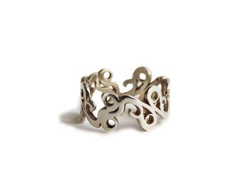 Silver lace ring, silver filigree ring, sterling silver ring, silver band ring