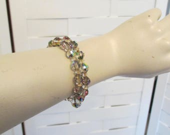 Vintage Swarovski Colorful Rainbow Crystal Bracelet!  Stretches, and Adjustable Fit For Most Wrist Sizes.  Perfect for Holidays or Gift Idea