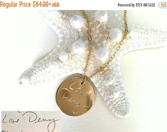 ON SALE Handwriting Jewelry / Custom Handwriting necklace - Personalized Disc Signature Necklace - Round pendant - Actual handwriting  Neckl