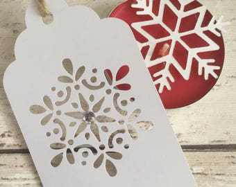 6 Detailed Filigree Snowflake Christmas Winter Festive Gift Tags for Presents Favors Weddings