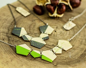 Green geometric laser cut necklace Minimalist gray wooden necklace Wood anniversary gift under 25