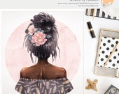 3 FOR 2. Black Girl Clipart - Watercolor Fashion Illustration - Chic Planner Sticker Ideas - Boho Tribal Fashionista - Flower Hairpiece.