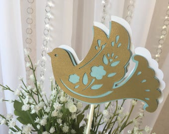 Baptism/ Christening/ Baptism centerpieces stick/ Baptism/  Dove centerpieces/Light blue  and Gold centerpieces