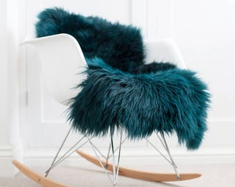 RARE emerald green  ,  sheepskin rug, sheepskin throw , superior Australian luxury sheepskin . Create hygge!