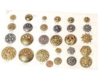 Signed Stehr sample card vtg Czech Art Nouveau openwork metal buttons rhinestone