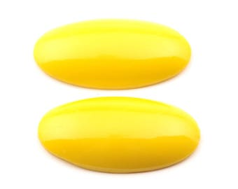 Lot (2) 36x19mm Czech vintage canary yellow oval molded glass cabochons 3301-220
