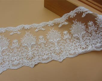 Vintage lace trim ,off white Cotton sunflower Embroidered Lace Trim Retro Textured Florals ,ivory white lace edge