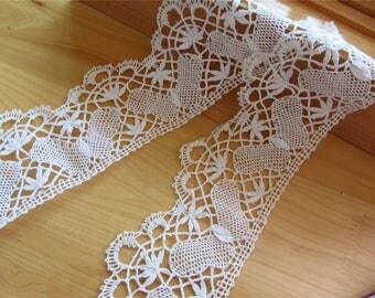 butterfly bobbin lace trim ,handemade cotton bobbin lace,white lace trimming