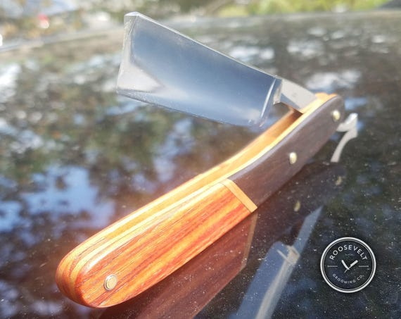 """Stately Razor with Restored 3/4"""", Vintage Shave-Ready Blade - Handcrafted Tulipwood and African Blackwood Scales"""