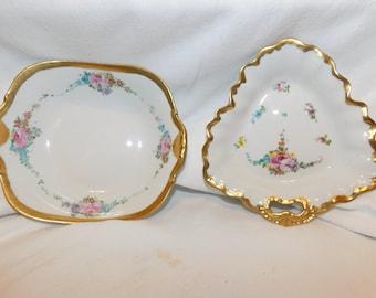 2 Beautiful Vintage B & C Limoges France Dishes Floral Gold Trim