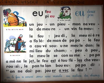 Authentic vintage French school poster of MDI