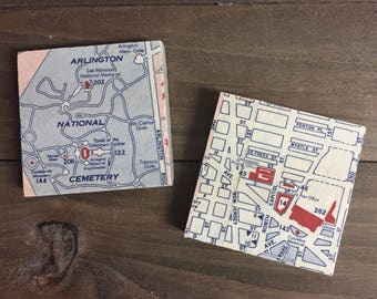 Vintage Washington D.C. Map Magnets featuring Arlington National Cemetery and Union Station, Set of 2