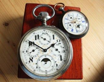Giant Moonphase Perpetual Calendar Pocket Watch Ø 8 cm - Quantieme