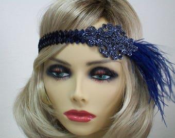 Navy 1920s headband, Flapper headband, 1920s headpiece, Great Gatsby headband, 1920s hair accessory, Feather headband, Vintage inspired