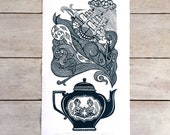 Limited edition handprinted linocut / lino print - 'Storm in a Teapot' (20 cm x 36 cm)