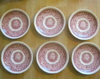 "6 Mason's VISTA PINK Saucers 5 3/4"""