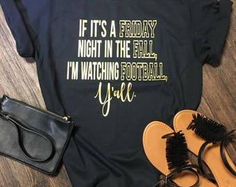 Friday Night Football, Football, Football Tees, Sports Tees, Ladies Tees, School Spirit, Graphic tees