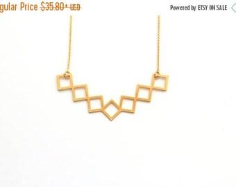 SUMMER SALE 20% OFF Geometric gold rhombus Necklace ,bridal necklace, geometric jewelry, bib necklace, statement necklace