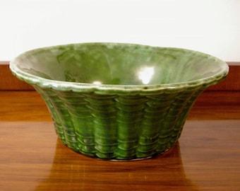 1950's Calif USA Pottery Green Planter / Bowl ~ Basketweave Pattern ~ High Gloss Glaze