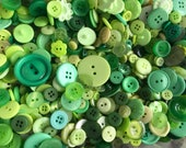 Bulk Mixed Green Buttons 1/2 lb, Lime, Light Green, St. Patrick's Day, Matching, Large, Small, Coat Buttons, 2 hole, 4 hole, shank, Destash