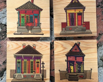 New Orleans Coasters - Shotgun Houses