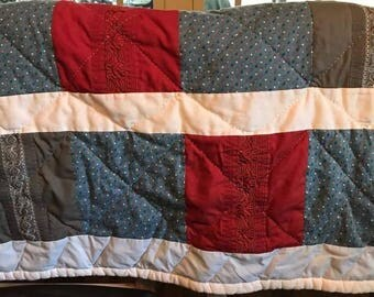Memory quilt with Dad's shirts
