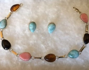 Larimar Earring and Bracelet Set