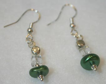 Green Glass Pearl Disc Earrings