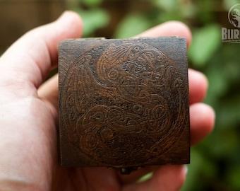 nordic design, celtic dragon, celtic knot, jewelry box, custom box, keepsake box, box for rings, tiny box, little box, celtic design.