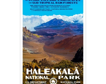 """Haleakala National Park Poster, WPA style 13"""" x 19"""" Signed by the artist.  FREE SHIPPING!"""