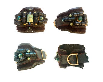 The SHIELD BRACELET by Gilded-Mane: African Turquoise, Lapis, Wood & Brass Beads on Chocolate Deerskin Leather, UNISEX