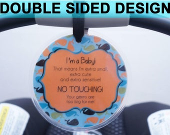 Preemie sign, newborn, baby car seat tag, baby shower gift, stroller tag, baby car seat sign- LAMINATED TAG