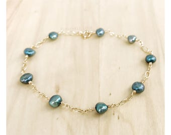 READY TO SHIP - Freshwater Pearl Bracelet - Gold Pearl Bracelet