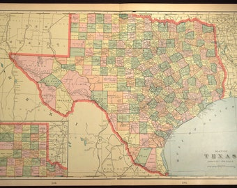 Texas Map Texas Antique LARGE Early 1900s Original