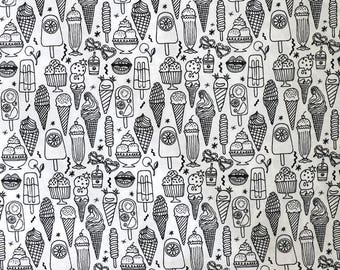 Fabric - Rico - Black and white mixed ice creams print - colour in fabric - woven cotton
