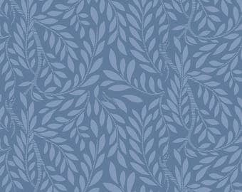 Fabric -Liberty  - The English Garden - Leaf trail, blue - Quilters weight cotton