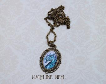 Cabochon Blue Dragon necklace