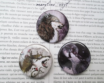 set of 3 badges pins pins Wolf werewolf
