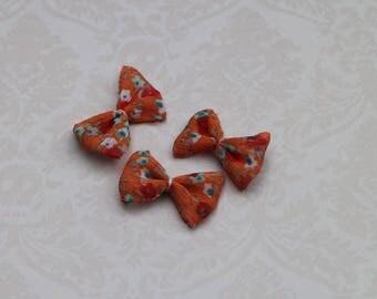 Set of 3 applique orange flowers liberty knot bow