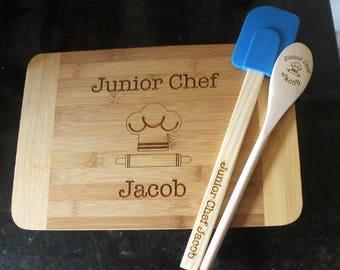 Kid's cutting board spoon spatula set, child baking set, kid baking set, kid cooking gift set, child baking gift