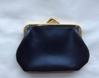 1950s vintage leather coin purse, made in Britain.