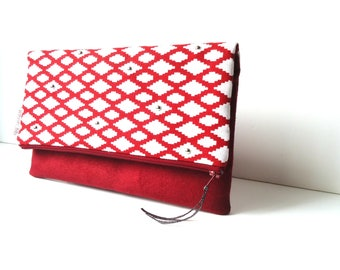 Hand made suede and Red cotton bag