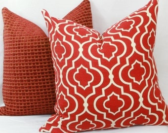 """Red Moroccan tile pattern decorative throw pillow cover. 18"""" x 18""""  toss pillow."""