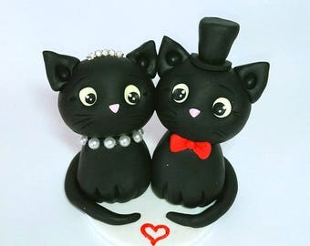 black cat wedding cake toppers cat wedding etsy 11859