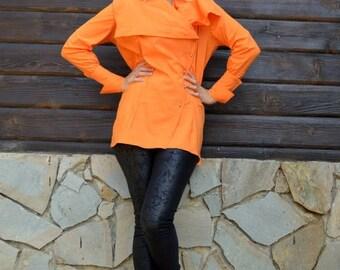 SUN SALE 25% OFF Orange Cotton Blouse / Orange Asymmetrical Blouse / Deconstructed Orange Shirt / French Cuff Shirt Tt63