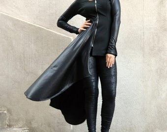 SALE 25% OFF Black Jacket,  Black Asymmetrical Tunic, Black Jersey Tunic with Metallic Italian Punto, Italian Punto Tunic TT67 by Teyxo