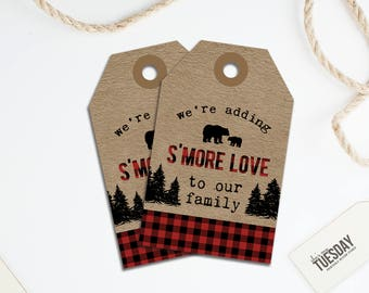 Lumberjack S'mores Tag - Lumberjack Baby Shower Favor Tag - S'mores Favor Tag - Buffalo Plaid - Camping Baby Shower - Printable Favor Tag